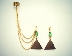 Green crystal and triangle earrings and ear cuff