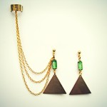 $25 triangle and green stone ear cuff